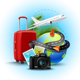 Vacation and holidays background with realistic globe suitcase and photo camera