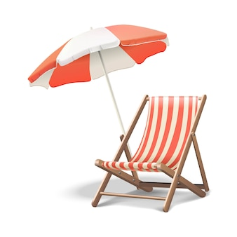Vacation icon beach sunbed with umbrella, wooden deck chair. summertime relax.