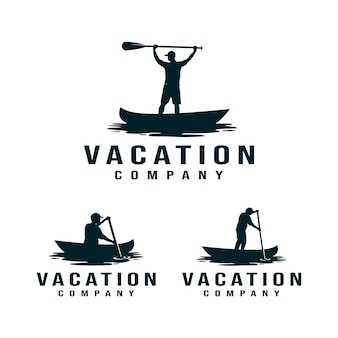 Vacation, kayak, canoe logo. man rowing