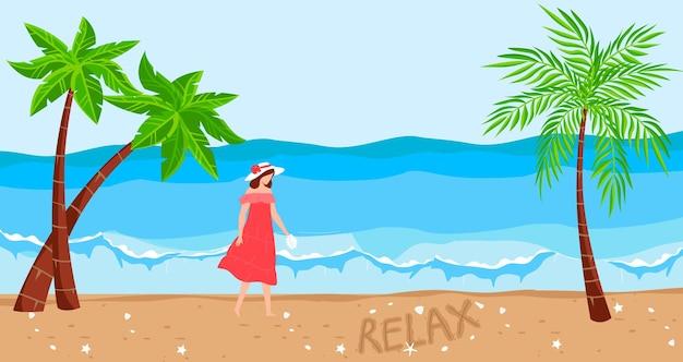 Vacation at ocean tropical beach vector illustration flat young woman character walking at sand holiday travel at summer paradise