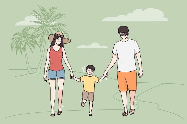 가족 개념으로 바다 해변에서 휴가