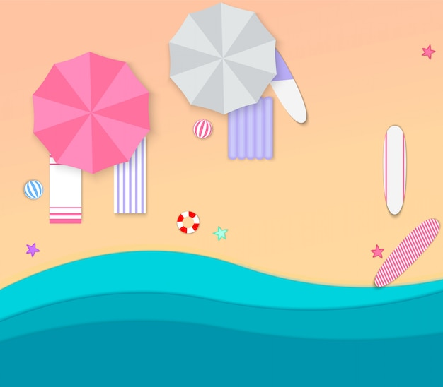 紙のスタイルでビーチでの休暇