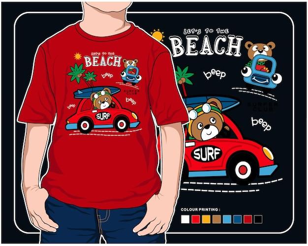 인쇄를위한 해변 쪽 벡터 동물 만화 일러스트 디자인 그래픽에 휴가 프리미엄 벡터