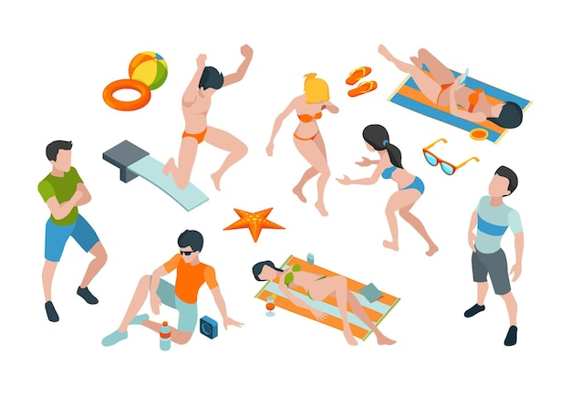 Vacation people. summer characters in swimsuits travel paradise male and female clothes vector isometric