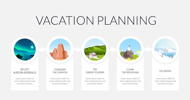 Vacation planning flat color informational infographic template