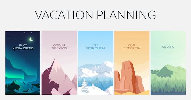휴가 계획 플랫 컬러 정보 infographic 템플릿