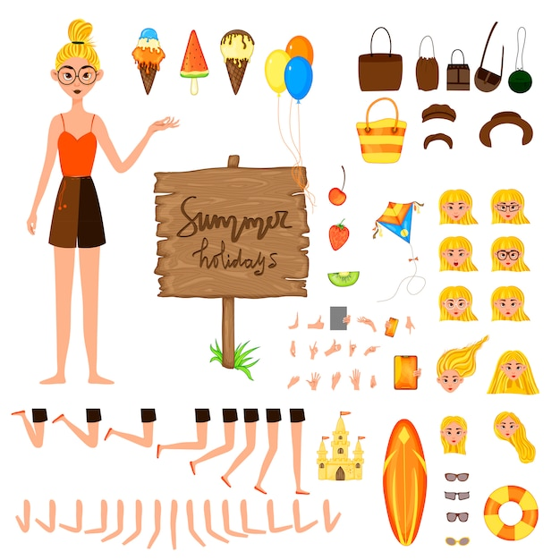 Vacation set of female characters. girl with holiday attributes on a white background.