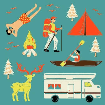 Vacation sticker vector in the mountains set