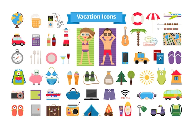 Vacation and summer rest flat elements. tourism and compass, trip and binoculars, swimsuit and umbrella.