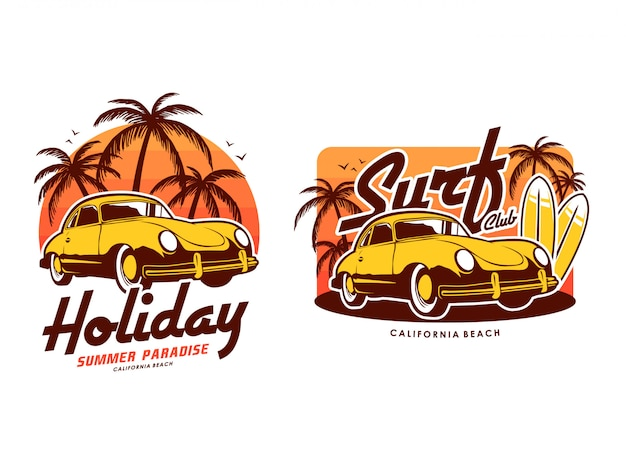 Vacation surf beach with sunset and retro car set illustration