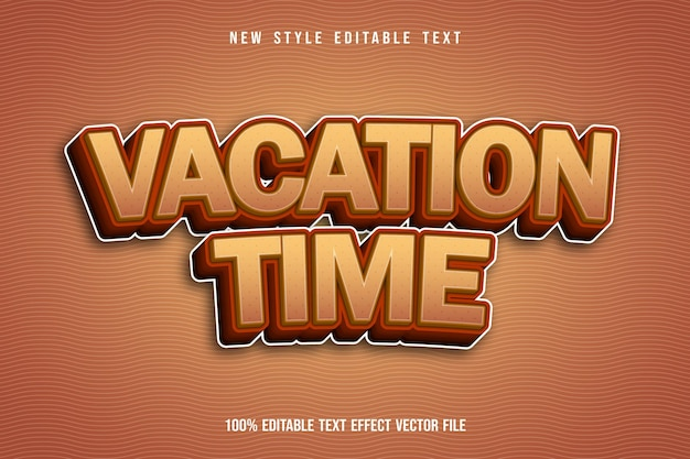 休暇時間編集可能なテキスト効果エンボス3次元漫画スタイル