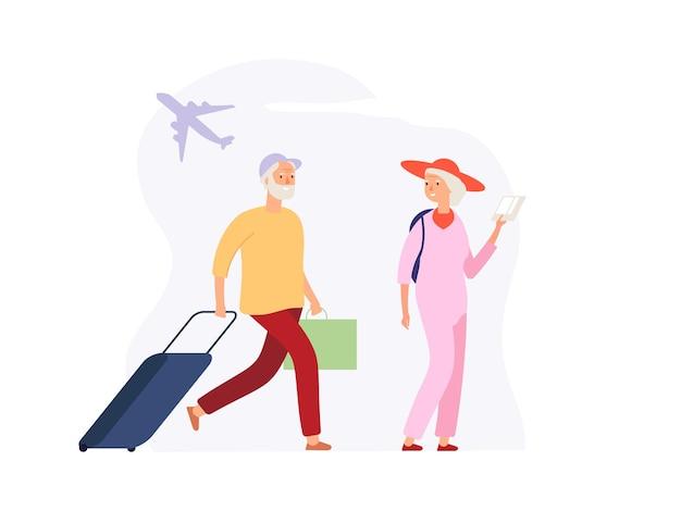 휴가 기간. 공항 터미널에 수하물이 있는 노인 여행자. 탑승 벡터 개념을 기다리는 여행 가방을 든 여자 남자. 할머니와 할아버지 은퇴, 관광 여행 그림 프리미엄 벡터