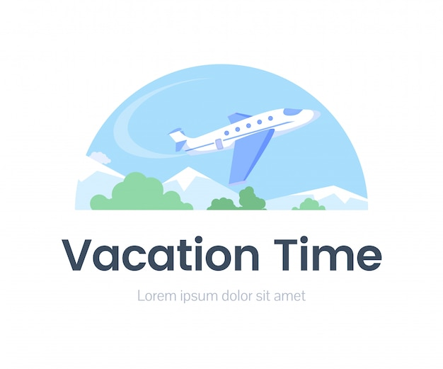 Vacation time web banner flat template