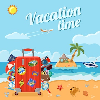 Vacation, tourism and summer concept.  beach with a suitcase, card, crab, starfish, and an island with bungalows and palm trees, boat and airplane.