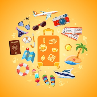Vacation, tourism, travel and summer concept with flat icons for web site, advertising like suitcase with passport, map, boat, camera and diving mask. isolated