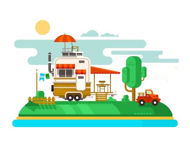 휴가 트레일러. 여행 및 관광, 야외 디자인 플랫, 캠핑 어드벤처 및 레저