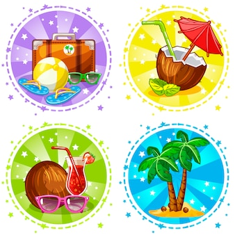 Vacation and travel background . summer symbols.