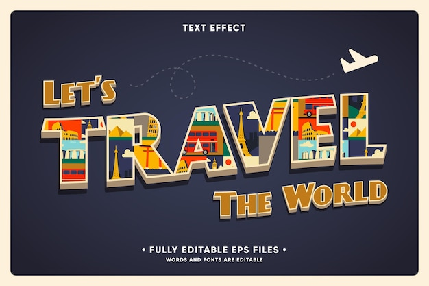 Vacation travel background with text effect