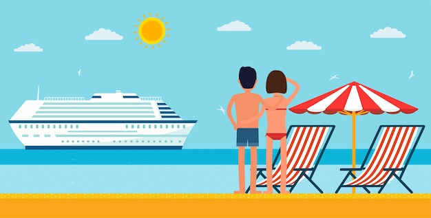 Vacation and travel. cartoon young couple by the sea looking at a cruise ship. sea beach with lounger and umbrella.
