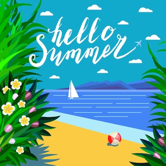 Vacation and travel concept. hello, summer. beach holiday. flat style vector illustration