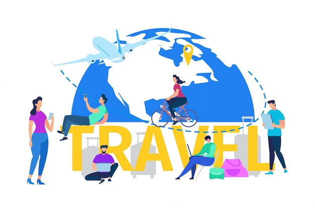 Vacation travel or journey flat vector concept