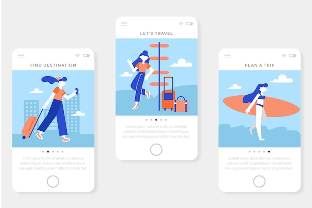 Vacation travel onboarding app screens for mobile phone