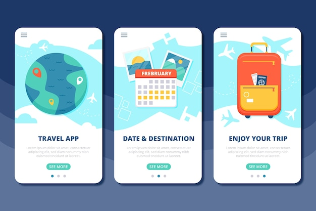 Vacation travel onboarding app screens