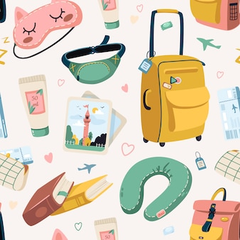 Vacation travel  pattern. various luggage bags, suitcases, cosmetics tourist set. travel abroad an airplane, seamless pattern.
