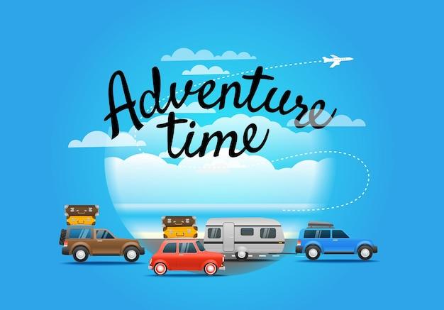 Каникулярный состав путешествия. концепция времени приключений с буквенным логотипом