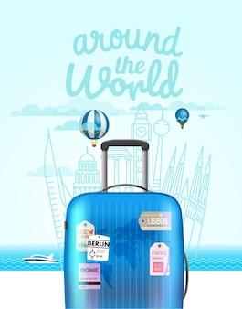 Каникулярная дорожная композиция с сумкой. концепция летних каникул