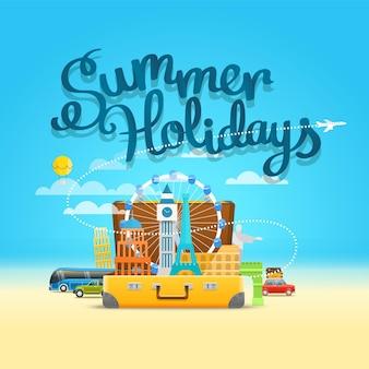 열린 가방으로 휴가 여행 구성. 여름 휴가 개념
