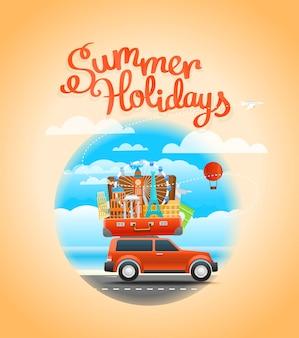 Композиция путешествия отпуск с открытой сумкой. концепция туристических знаков. открытый летний сезон