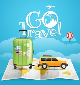 Концепция путешествия отпуск. автомобиль с багажом. путешествие иллюстрации