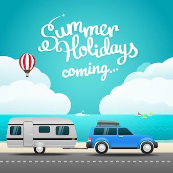 휴가 여행 개념입니다. 평면 디자인 일러스트 레이 션. 안녕하세요 여름 휴가 개념