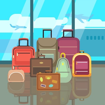 Vacation travelling concept with travel bags vector flat background. set of bags in airport, illustr