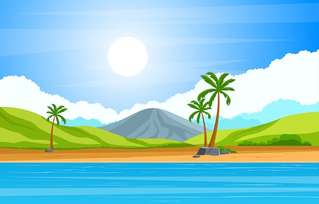 Vacation in tropical beach sea palm tree summer landscape illustration