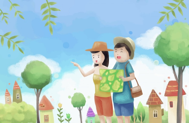Vacation watercolor background.