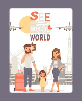 Vacation with family, see world poster  illustration. travel tour at europe, city landmark background. young couple with kid