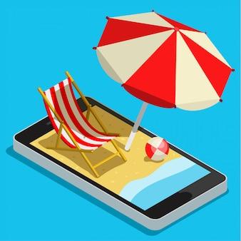 携帯電話のコンセプトでの休暇。休暇のためのさまざまなアクセサリーとタッチスクリーンのスマートフォン。フラットスタイルの図