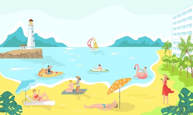 海のビーチ漫画イラスト、夏のリラクゼーション、レジャーで水着の行楽客。