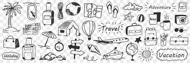 휴가 및 모험 낙서 세트. 손으로 그린 여행 속성 휴일 비행기 티켓 풍선 글로브 캠핑 가방 선글라스 비치 컬렉션 투명 배경에 고립