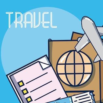 휴가 및 여행 요소 만화
