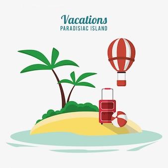 Отдых райский остров воздушный шар bagagge и пляжный мяч