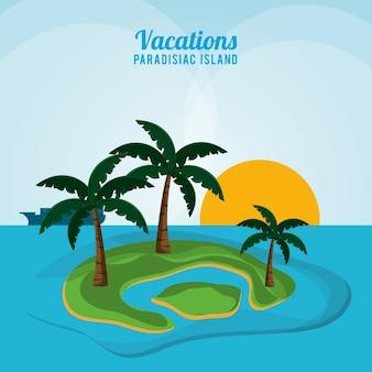 Vacations paradisiac island ocean sunlight palm tree