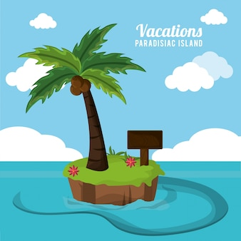 Vacations paradisiac island palm coconut flower and wooden board