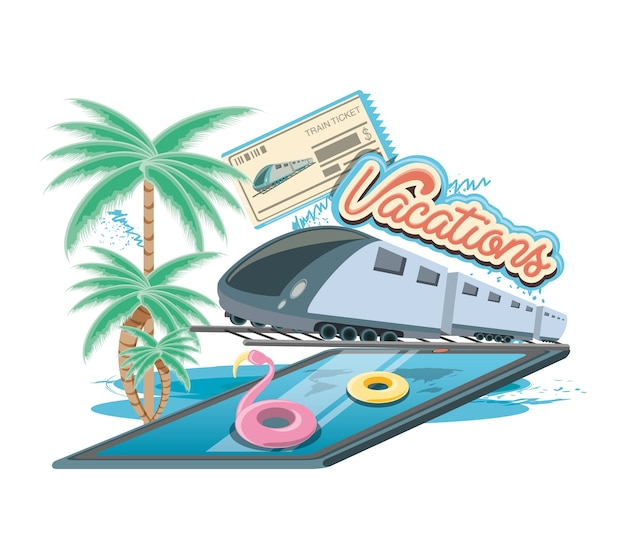 Vacations place with pool scene icon vectorilustration