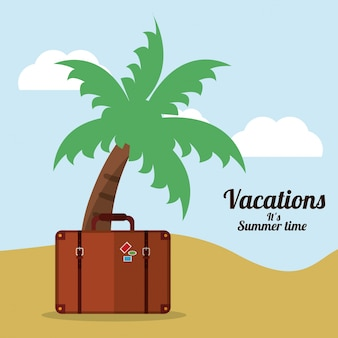 Vacations summer time beach suitcase palm