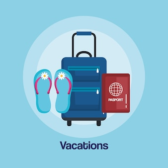 Vacations travel bag with handle on wheels