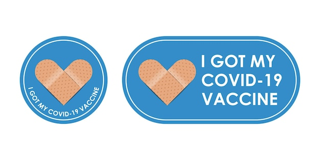 引用符で囲まれた包帯アイコン-私は白い背景、ベクトル図で分離されたcovid19ワクチンを手に入れました