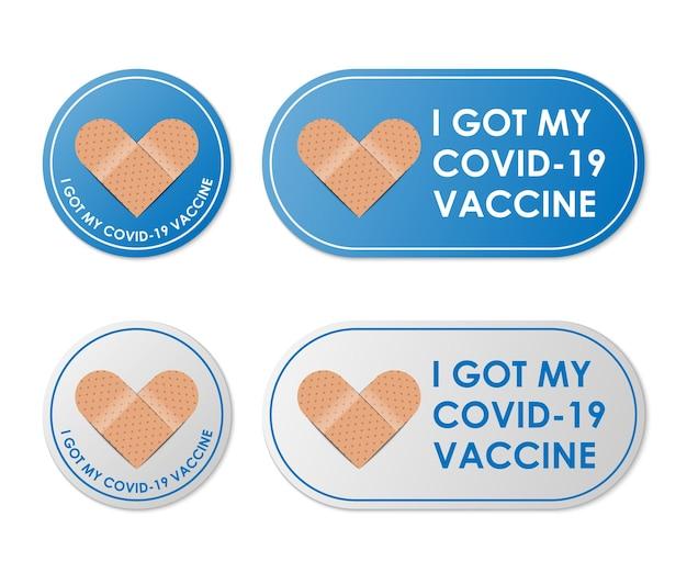 引用付きのワクチン接種された包帯アイコン私はcovid19ワクチンを手に入れました